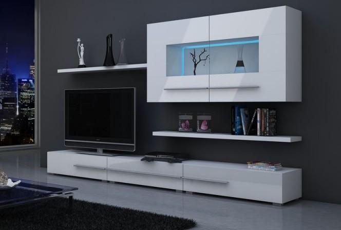 CENTURION - Mediamöbler-set, Vit, belysning