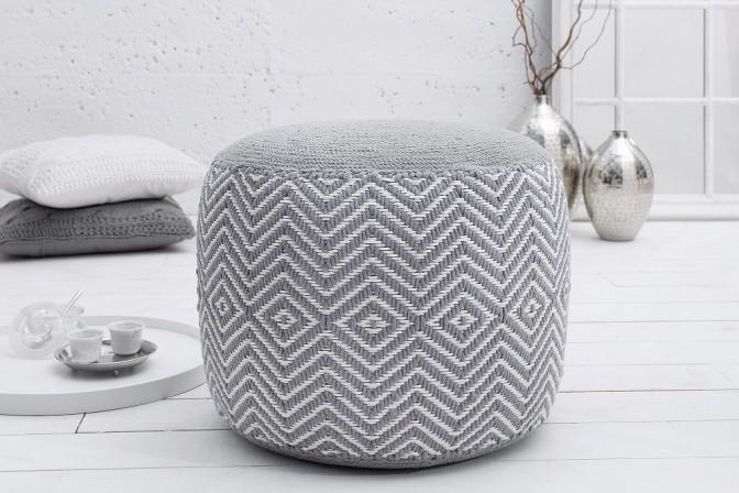 Pouf Leeds Oriental gray white woven