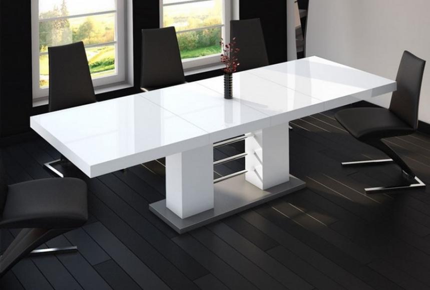 ENZIO - Högglans VIT bord, dubbel-förlängning