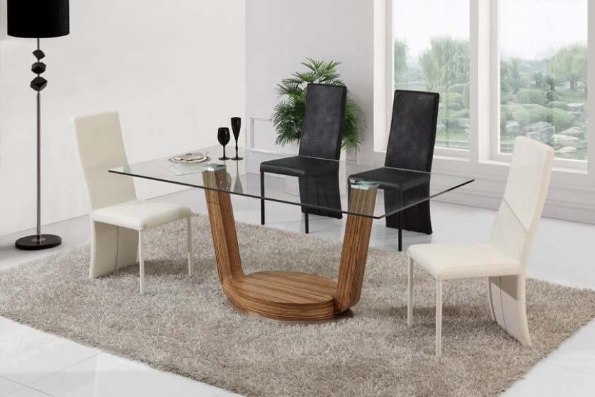 Heiko modern exklusiv ek matbord i glas for Comedores de madera y cristal