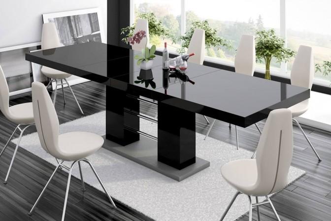 ENZIO - Högglans svart bord, dubbel-förlängning