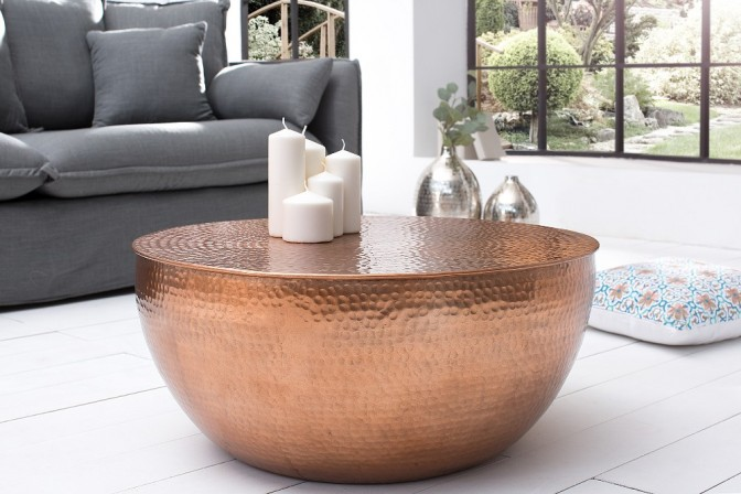 Coffee table hammered look 70cm copper