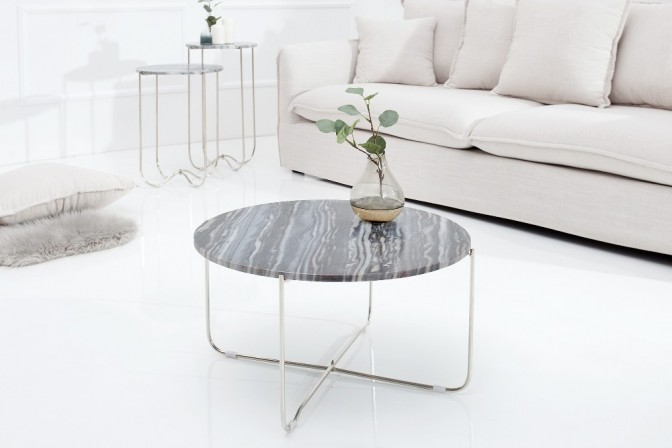 Coffee table Noble gray marble silver