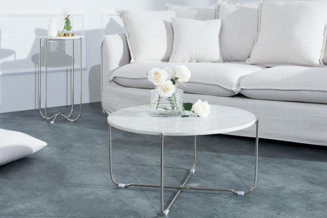 Coffee table Noble white marble silver