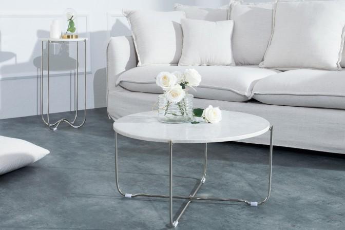 BANQUET - soffbord i vitt, marmor och silver