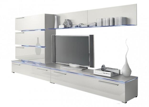 RADON - Tv-möbel kombination, LED, vit