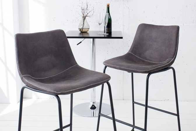 Bar chair Django vintage gray iron