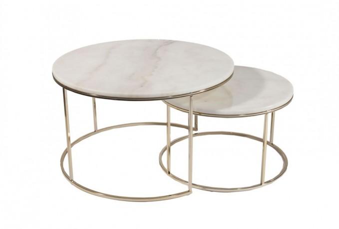 MONACO stilfulla vardagsrumsbord i champagnelackad ljus marmor och krom, modernt bord