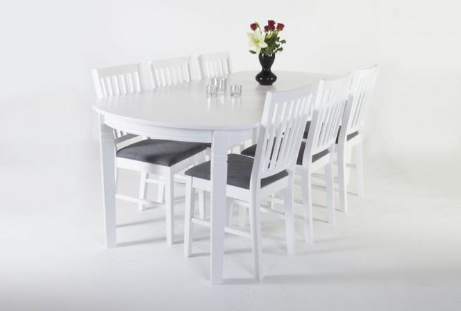 SANDHAMN - 160/200 cm med sex stolar