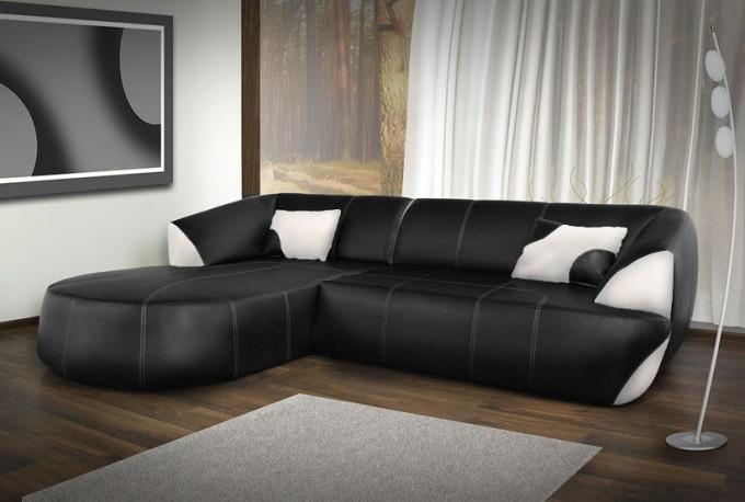 NERO - bäddsoffa med divan i ECO-läder
