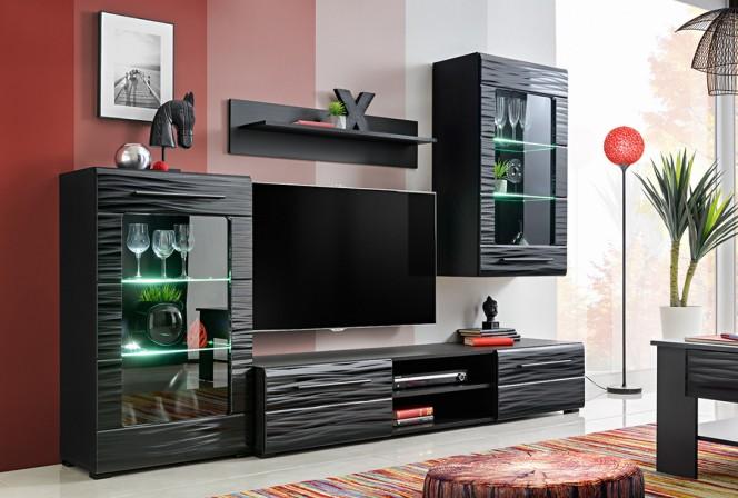 BLAKE S - TV-möbelgrupp i svart och sahara