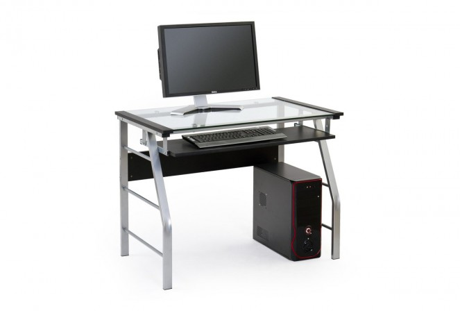 AILA stilrent skrivbord i glas, laminerad MDF