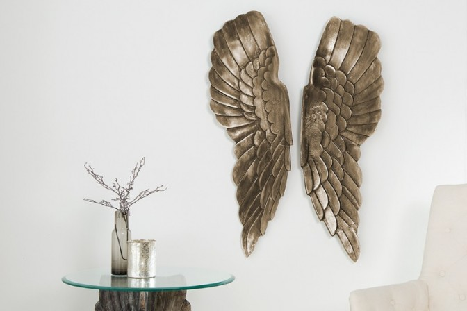 Wanddeko Fallen Angel 65cm silber