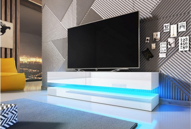 VINCE - 140CM TV-BÄNK M. BLÅ LED-BELYSNING