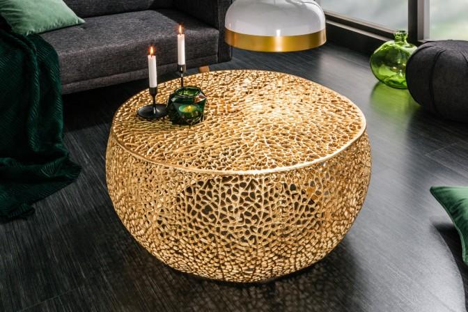 LEVA handgjort soffbord i guld, metall aluminiumlegering i guld, soffbord i guld