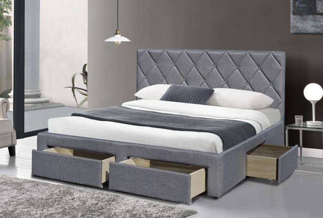 MOLINA - 160 cm grå säng