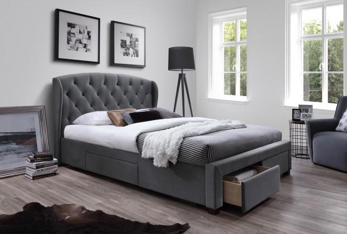 GINA - 160 cm grå säng