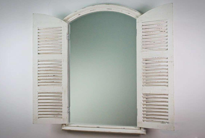 Attraktiva LEON - rustik spegel med träram i vitt, extravagant väggspegel med HV-41