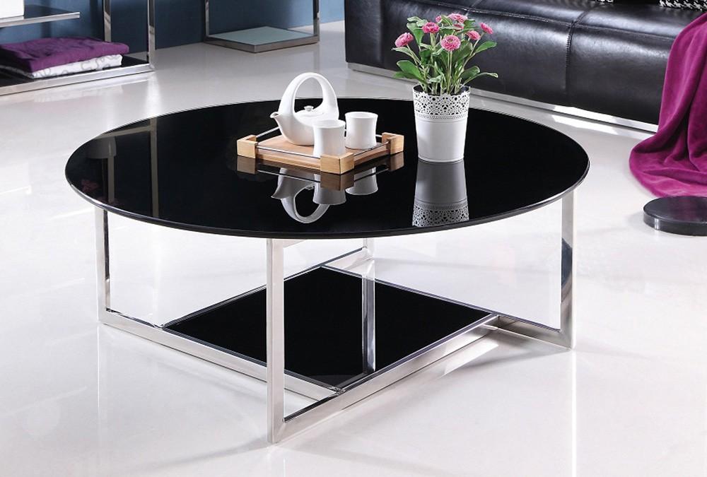 MILOU modernt soffbord i glas, runt soffbord i svart glas, rostfritt stål glas soffbord