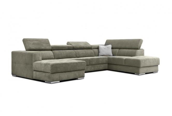 Quartz - modern U-soffa, tyg eller läder