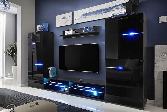 Modern - Väggmonterad mediamöbelgrupp med LED belysning