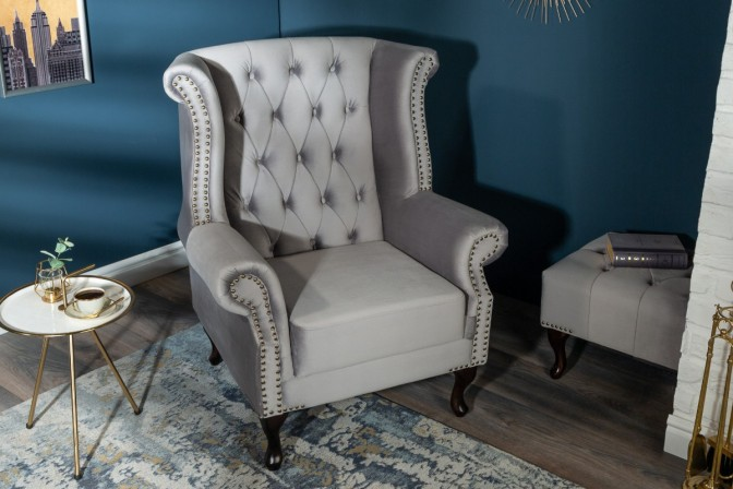 Chesterfield armchair silver-gray velvet