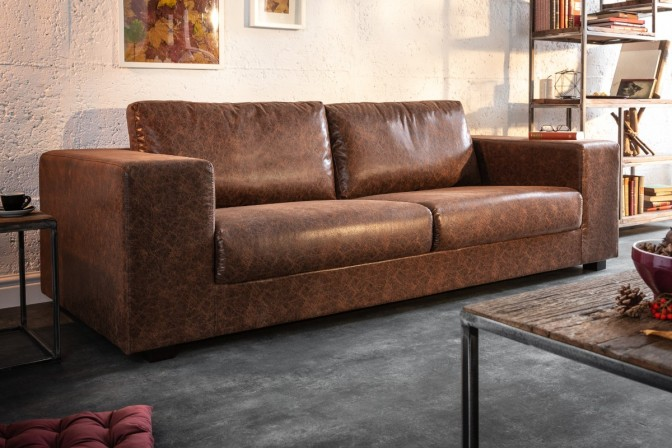 LOUNGER - soffa i vintagebrunt