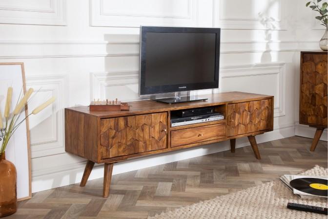 OMLOTT - Handgjord TV-möbel i massivt sheshamträ