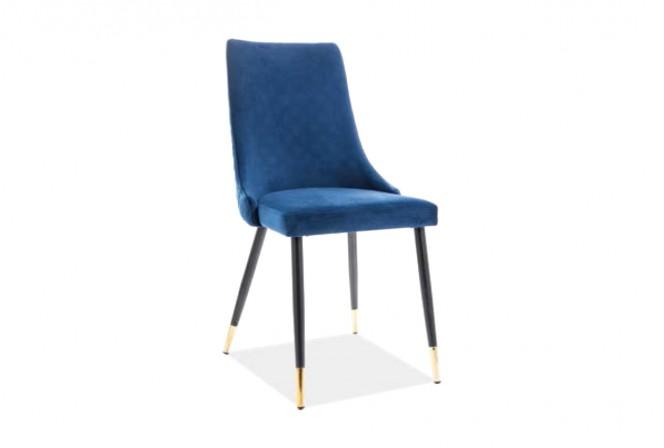 KLAVER - Stol i lyxig sammet mörkblå