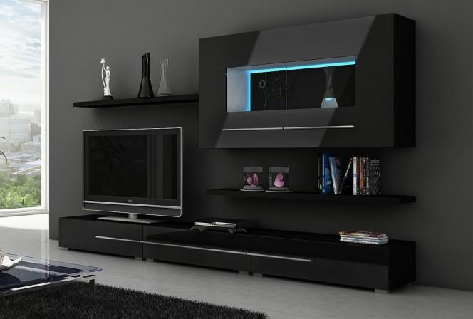 CENTURION - Mediamöbler-set, SVART, LED