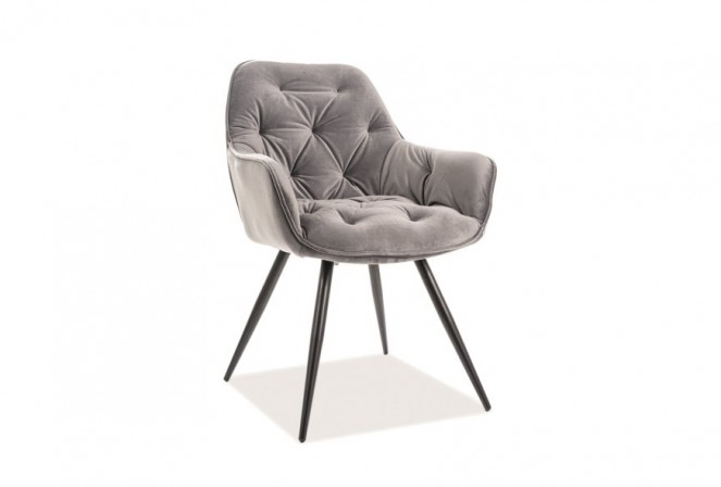 KLAVER - Stol med armstöd i lyxig sammet grå
