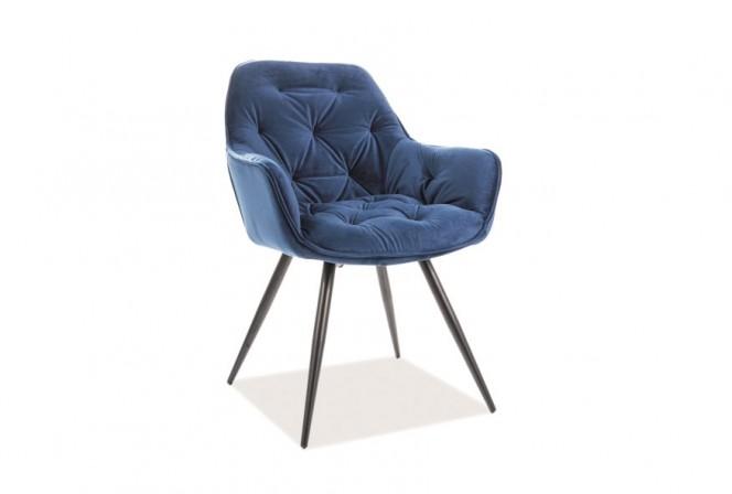 KLAVER - Stol med armstöd i lyxig sammet mörkblå