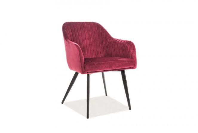 KLAVER - Lyxig sammetsstol med armstöd vinröd