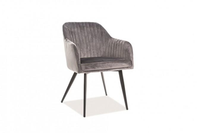 KLAVER - Lyxig sammetsstol med armstöd grå