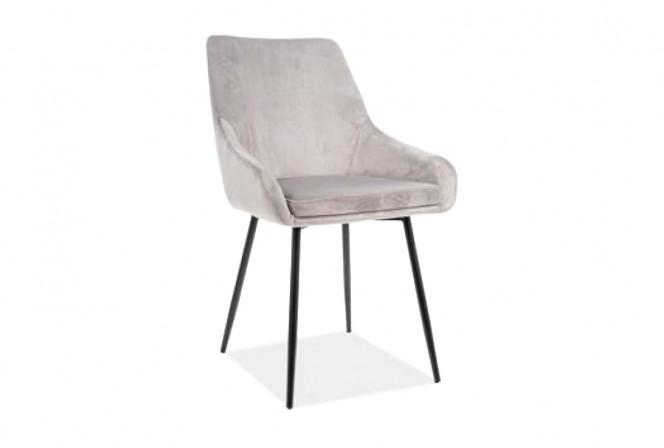 KLAVER - Skön och lyxig sammetstol i ljusgrått