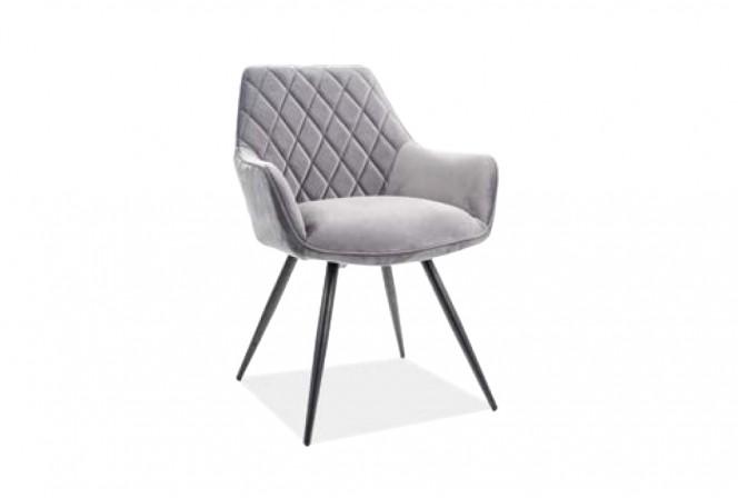 KLAVER - Lyxig grå sammetstol Bluvel 82 cm