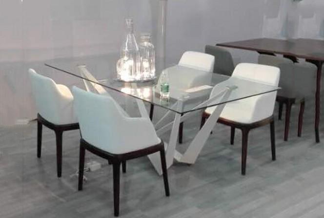 ZIMMER - Matbord i härdat glas, VIT