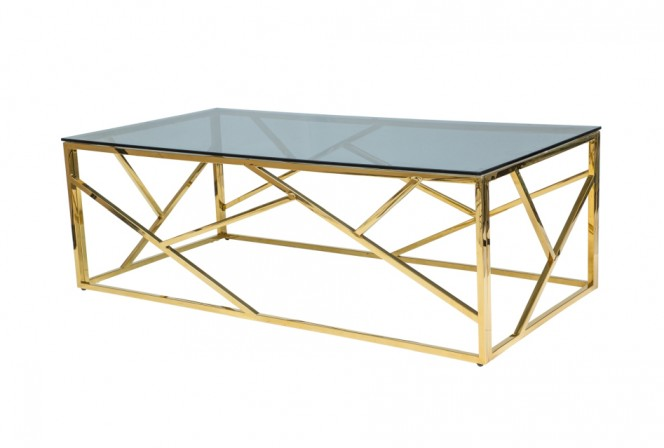 BLOSSOM - 120cm Soffbord i glas, guld