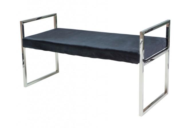 HARMES - Lyxig sittbänk i sammet och rostfritt stål 103 cm