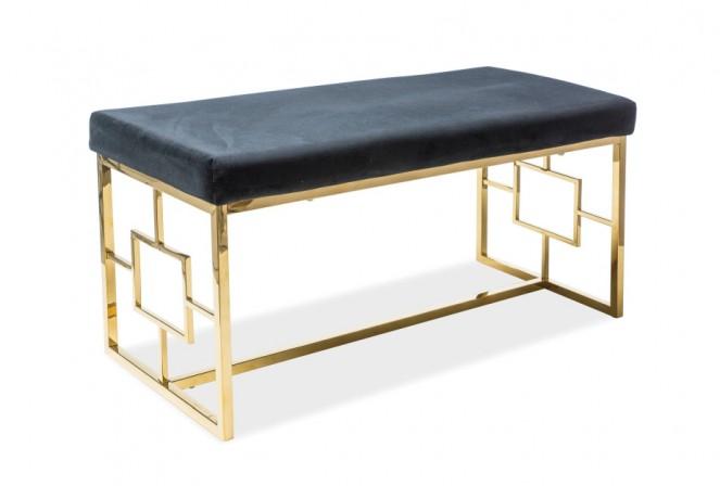REGERING - Lyxig sittbänk i sammet svart/guld 100 cm