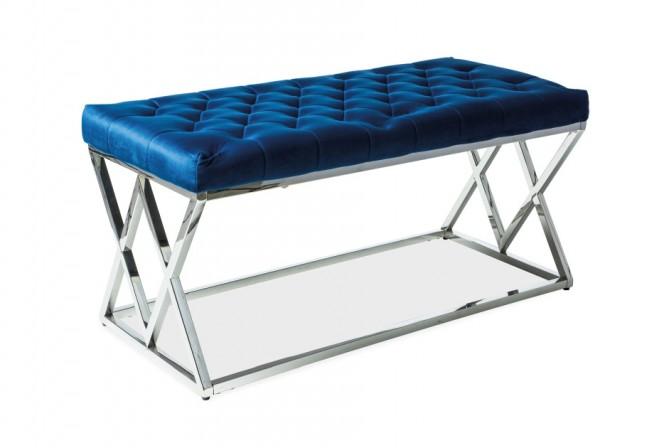 FINESS - Lyxig sittbänk i marinblå sammet 100 cm