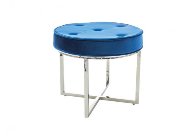 NORTH - Lyxig sittpall i marinblå sammet/silver 50 cm