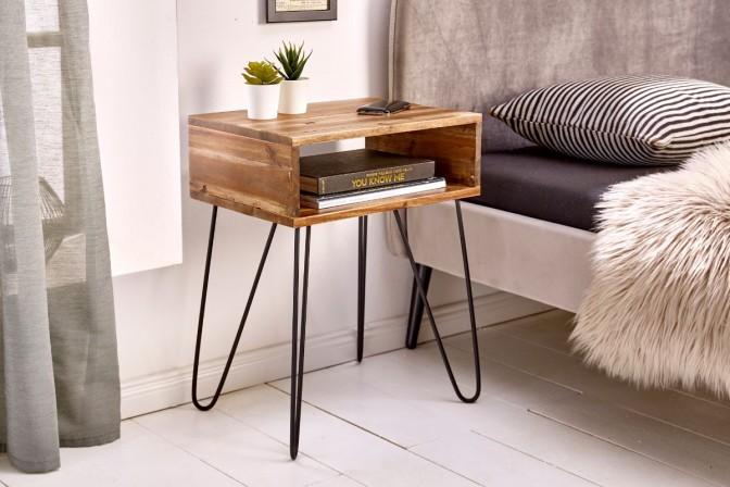 EKFANZ - Stilrent soffbord i massivt akaciaträ 40 cm