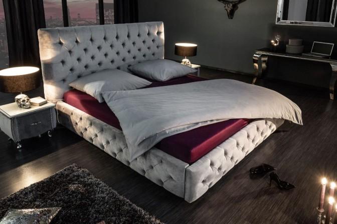 MONTMARTRE - sängram med sänggavel sammet grå