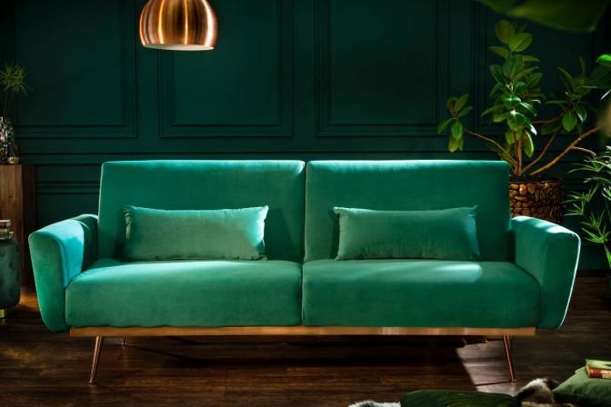 BRIS - Lyxig bäddsoffa smaragdgrön sammet 208 cm