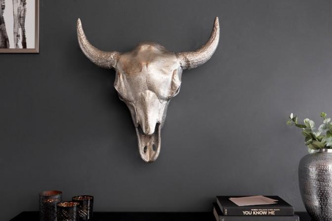 MATADOR dekorativt tjurhuvud silvermosaik