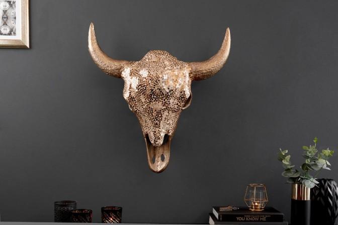 MATADOR dekorativt tjurhuvud guldmosaik