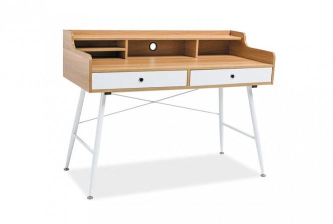 D-250 - Vitt och ekfärgat skrivbord med hyllor