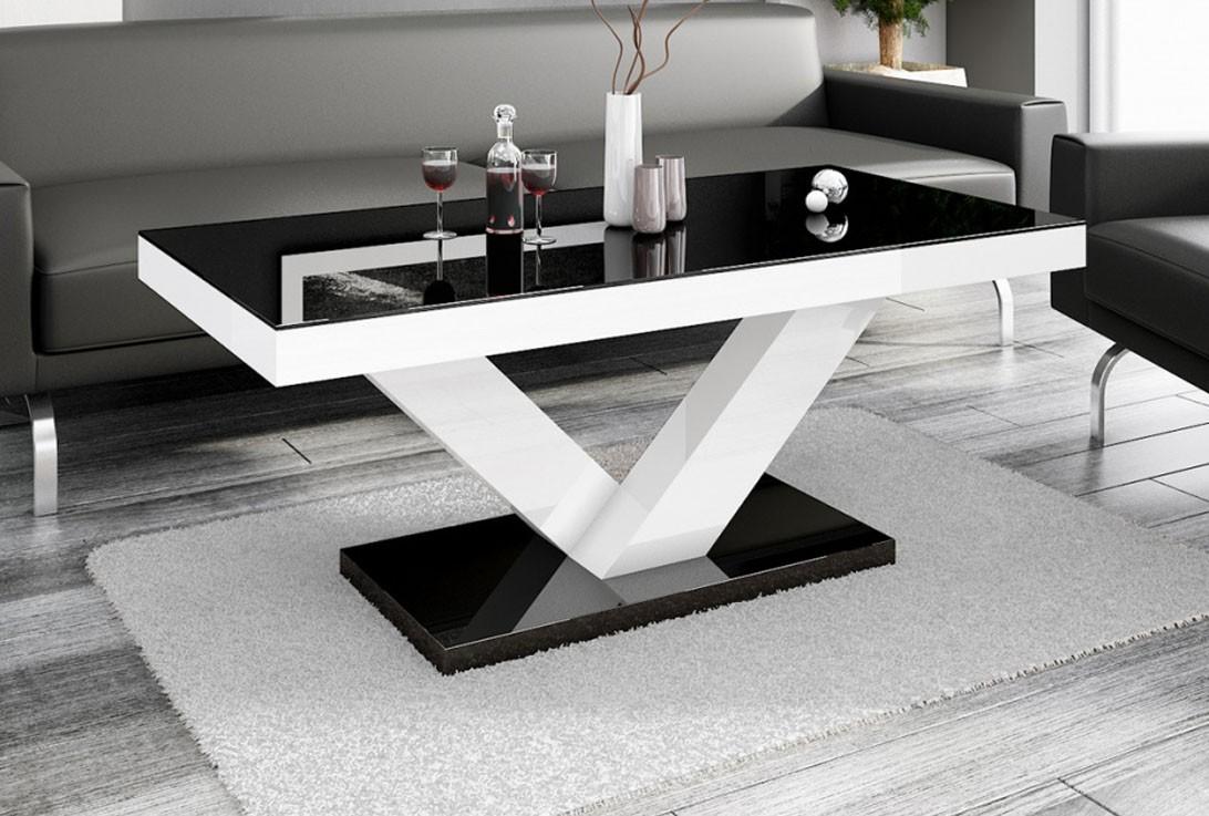 VICCO V Vardagsrumsbord svart hel i HÖGBLANK modern bord
