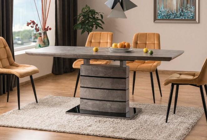 LEANDRO - Matbord med förlängningsfunktion grå + svart